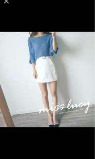 🚚 天藍/淺藍針織圓領造型上衣