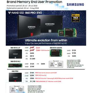 🚚 Samsung SSD Cash Voucher and Freebies Promotion (20 July to 29 July 2018)