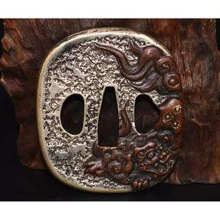 中國古武具  紫銅金銀鍍  刀鍔  刀裝具