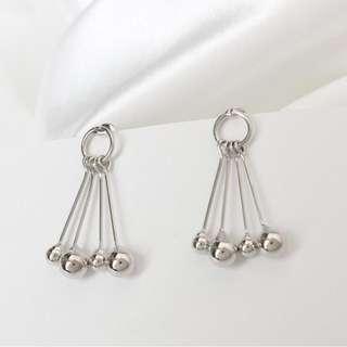 🚚 圓珠耳環 簡約大耳環 流蘇珠子 氣質百搭 吊墜耳環 金屬麥穗耳環 垂墜耳環 穿洞式