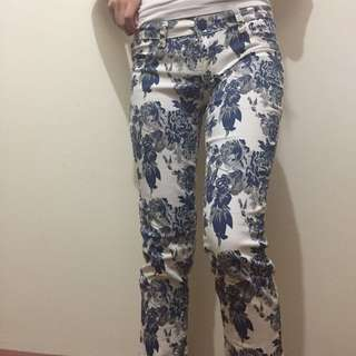 Brand New Maldita Floral Blue and White Pants