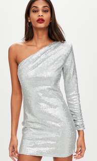 ❄️Missguided Size 10 Silver One Shoulder Sequin Dress