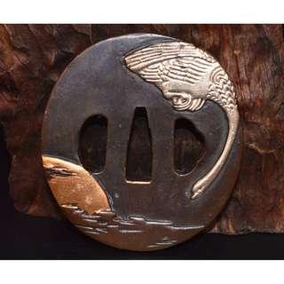紫銅製 鍍金銀   白鳥紋  劍擋  刀鍔