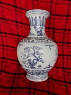 Ming dynasty Xuande seal mark B n W vase 33cm high decorated with pine bamboo n plum flowers . 明到代宣德年青花梅松竹纹。
