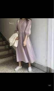 🚚 全新粉紫色混棉麻皺褶洋裝