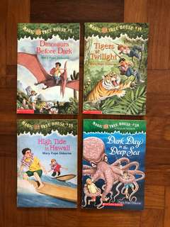 4 x Magic Treehouse Children's books