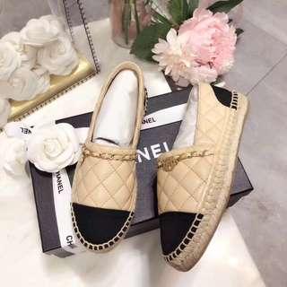 Chanel 18ss早春新款 草編頂級漁夫系列!鞋面是定制水洗帆布(羊皮) size 34-41 (34、41 定制無退無換)HH36788 多色可選