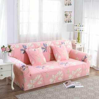 (Merah/Red/Pink) Sarung Sofa Corak