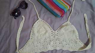 Cute Brown Crocheted Beach Top
