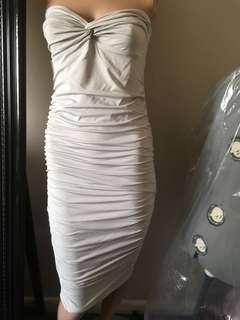 Kookaï strapless grey ruched dress - New