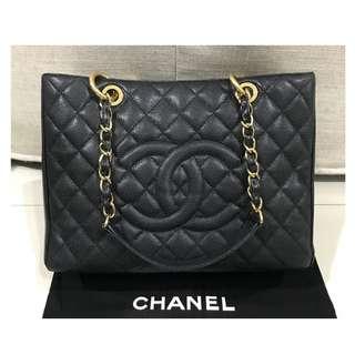 Authentic Chanel GST Black Caviar Ghw