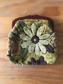 Vintage fabric clutch English