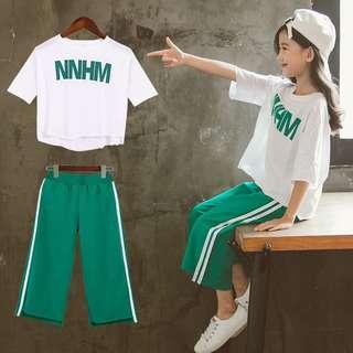 🚚 預購「110-160碼棉質字母上衣休閒運動褲套裝」