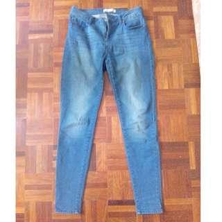 Mango Skinny High Waisted Blue Jeans