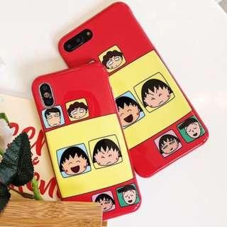 手機殼IPhone6/7/8/plus/X :紅底小丸子家族全包邊光面軟殼