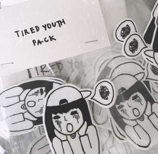 Tired youth sticker