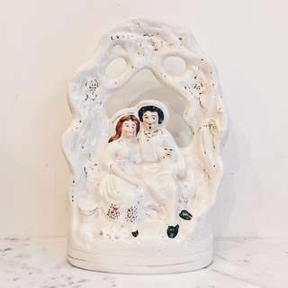 Antique Victorian Staffordshire Lovers Under Bower Figure