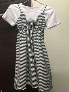 🚚 吊帶裙連身裙白襯衫竪條紋連衣裙韓國學院風