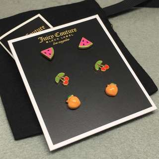 Juicy Couture Sample Earrings set watermelon 🍉peach cherry 🍒 水果耳環套裝 配說明卡原裝防塵袋