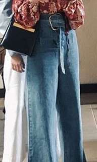 High waist wide leg denim jeans