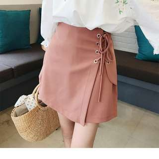 Sand Brown Ribbon Side Skirt