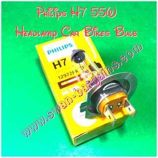 Philips H7 55W Premium Vision Single Filament Halogen Light Lamp 12V Car Bikes Headlight Bulb (LTA Approved Bulb)
