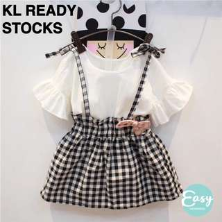 READY STOCK Kids Girl Summer Casual Short Sleeve Checkered Dress with Ribbon