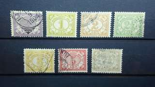 1902 - 1912 Netherlands Indies (Indonesia) Stamps set of 7 pcs Rare find