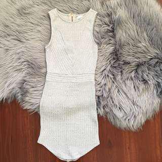 WHOIAM Grey Ribbed Bodycon Mini Dress Size 6