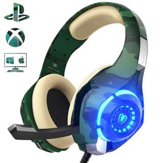 1479. Gaming Headset for PS4 PC Xbox one, Beexcellent Stereo Sound Over Ear Headphones with Noise Reduction Microphone Volume Control and LED Light for Laptop Tablet Mac iPad
