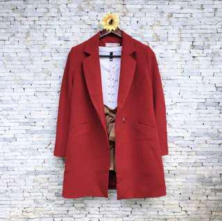 Red trench blazer