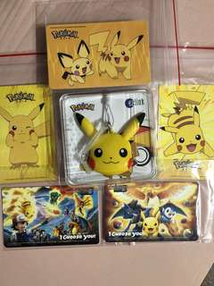 Limited edition brand new set of Pikachu Ezlink charm , Ezlink cards for $108.