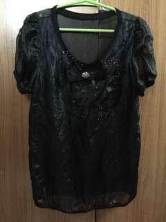 black ribbon blouse