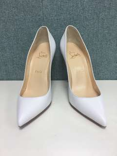 Christian louboutin white leather pumps sz 38.5