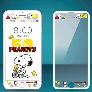 IPhone6/7/8/plus(沒有X) : Snoopy史努比縷空浮雕隱形鋼化前膜