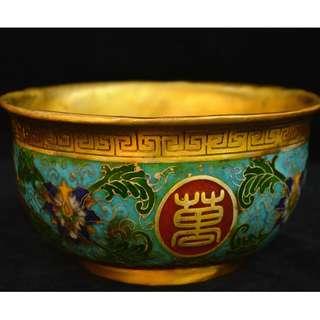 蔵友寄売  銅胎景泰藍  萬寿無疆碗  祥瑞花草紋  開運物  乾隆年製在銘
