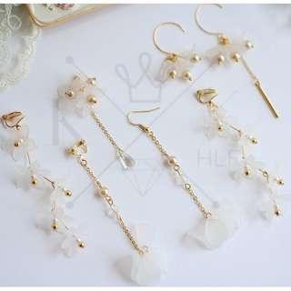 Droplet White Flower Earrings/Clips