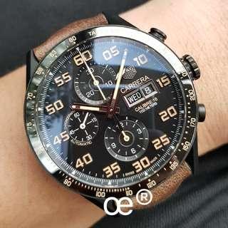 #July100 *VERY RARE* TAG Heuer Carrera Calibre 16 TITANIUM with CERAMIC BEZEL 43mm Chronograph Day Date
