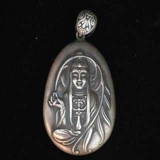 旧時民間收蔵  本物銀製  観音菩薩像  般若波羅蜜心經在銘  掛件