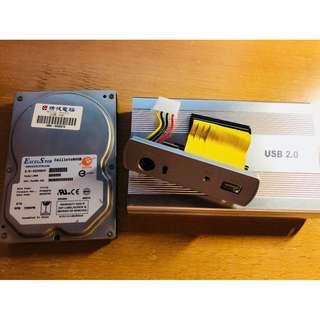 🚚 ExcelStor(易拓) 3.5吋 IDE硬碟80GB + USB 2.0硬碟外接盒 (可當行動硬碟)