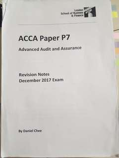 ACCA P7 Revision notes and questions answers