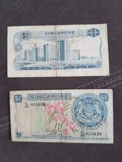 2 pieces of  $1 Singapore  orchids series