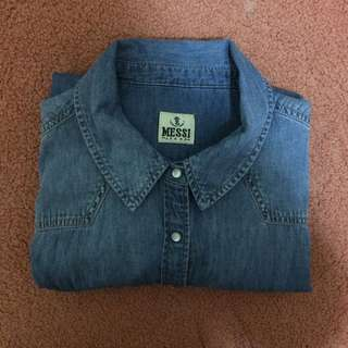 Messi Jeans Demin Button Up Top (fits women's size s-m)