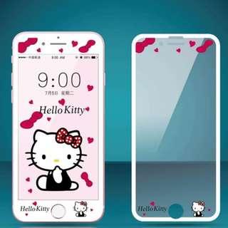 IPhone6/7/8/plus(沒有X) : HelloKitty縷空浮雕隱形鋼化前膜