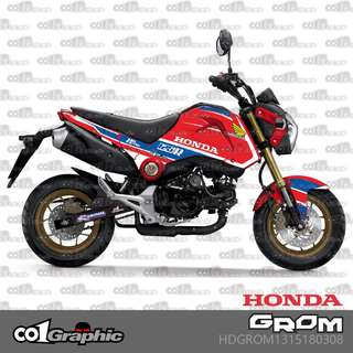 Honda grom MSX125 sticker decals racing red blue