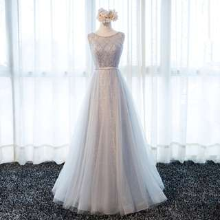 Gown Collection - Tiny Round Pearls Design Lace Event Gown