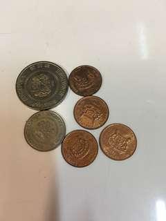 新加坡硬幣共6個 (1988,1991,1993,1994年)