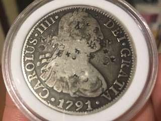 1791 西班牙貿易銀幣 雙柱8R