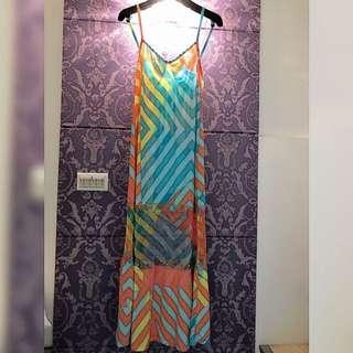 💓正韓 繽紛藍綠色X橘黃色幾何圖形拼接紗網鉚釘細肩帶長洋裝 連身裙💓