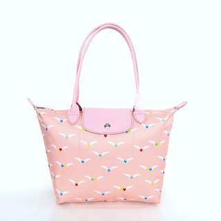 Long champ Le pliage Chevaux Ailes tote pink